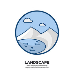 Landscape logo icon in circle shape isolated on vector