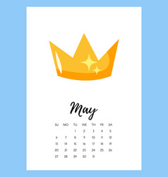 May 2018 year calendar page vector