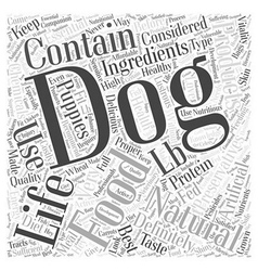 Natural life dog food word cloud concept vector