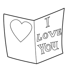 Postcard I love you icon outline style vector image