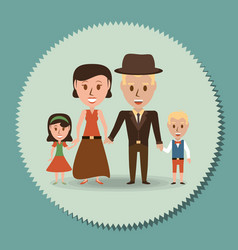 Retro family parents with their children vector
