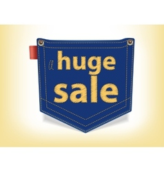 Sale Badge Blue Jeans Pocket Shaped vector image vector image