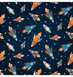 Seamless pattern of colorful spaceships vector