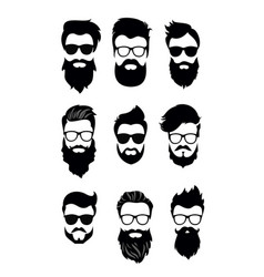 set of bearded men vector image vector image
