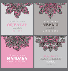 set of four cards or flyers with abstract henna vector image vector image