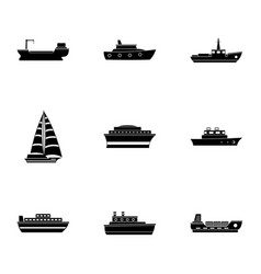 Shipborne icons set simple style vector