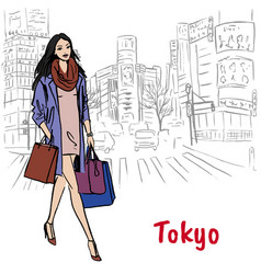 shopping street in shibuya vector image vector image