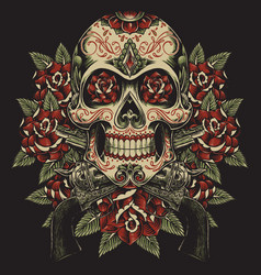 Skull and roses with revolvers tattoo vector