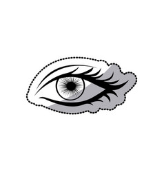 Sticker black silhouette woman eye opened vector