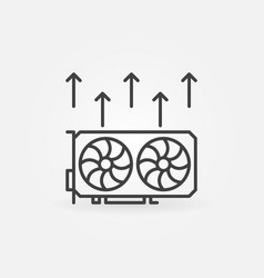 Video card mining icon - cryptocurrency gpu vector