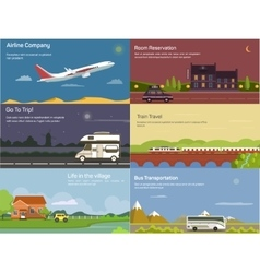 Traveling by airplane and car train bus vector