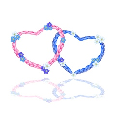 Two rope heart with forget me not flower vector