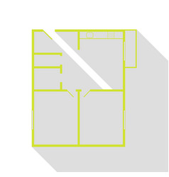 Apartment house floor plans pear icon with flat vector