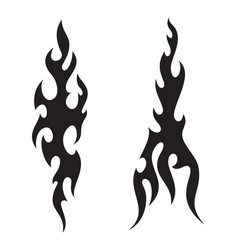 Tattoo fire flames black white silhouette vector