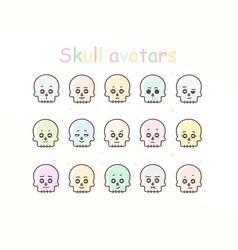 Skull avatar icons vector