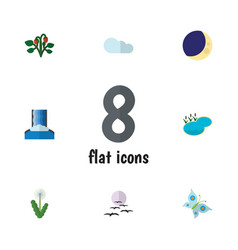 Flat icon nature set of cascade floral gull and vector