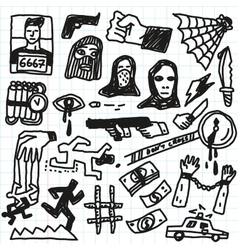 Crime violence - doodles set vector