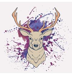 grunge of deer with watercolor splash vector image