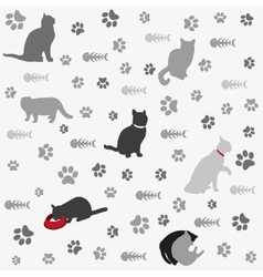 Background with cats paw print and fish bone vector