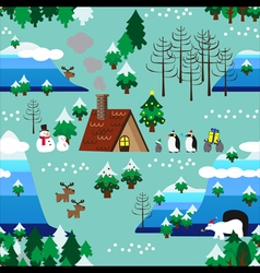 Christmas theme landscape seamless pattern close vector
