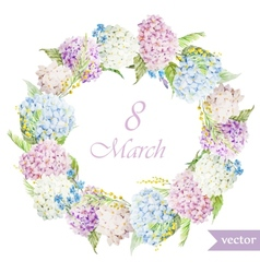 March 8 hydrangea wreath flowers4 vector image