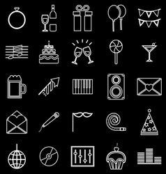 Celebration line icons on black background vector