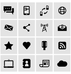 Black communication icon set vector