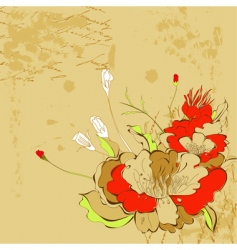 retro stylized background with flowers vector image
