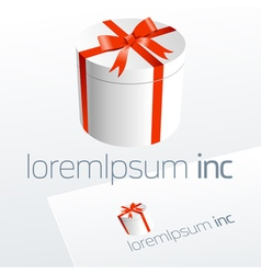 Logotype with white gift and red bow vector