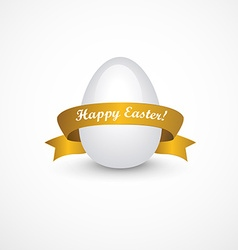 Easter eggs with gold ribbon vector