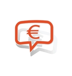 Euro message sticker orange vector