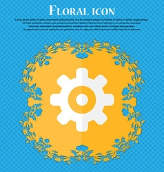Cog settings cogwheel gear mechanism floral flat vector