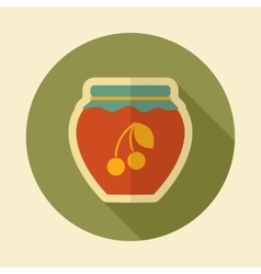 Cherry jam jar retro flat icon with long shadow vector