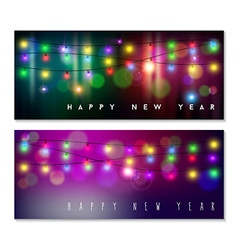 Happy new year banner set light bokeh blur holiday vector