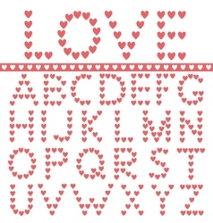 Red hearts alphabet vector
