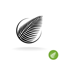 Palm leaf black silhouette logo icon in a round vector
