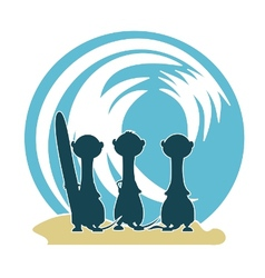 3 meercat surfers v2 vector image