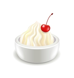 Sour cream with cherry isolated on white vector