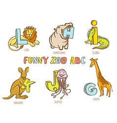 Funny zoo animals kids alphabet hand drawn ink vector