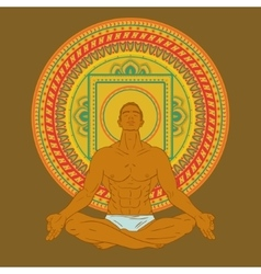 Man sitting in meditation pose on mandala vector