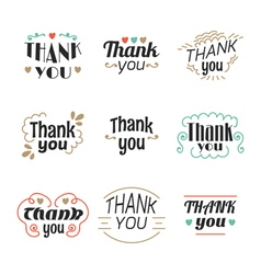 Set of 9 thank you labels emblems stickers or vector
