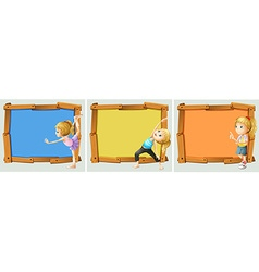 Wooden frame design with girls and yoga vector