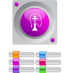 Hookah color round button vector