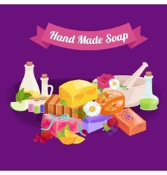 Natural handmade soap and olives vector