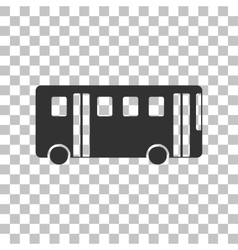 Bus simple sign dark gray icon on transparent vector