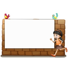 A white board a girl and birds vector image