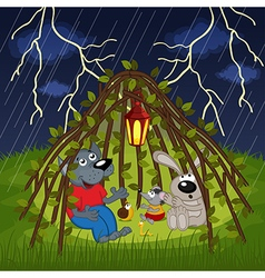 Animals hide from storm vector