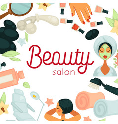 beauty salon promotiobal poster with equipment for vector image vector image