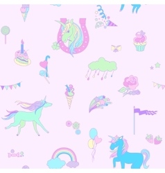 Blue unicorn on pink background with clouds vector image vector image