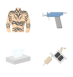 Body tattoo piercing machine napkins tattoo set vector